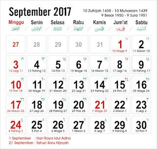 Kalender September 2017