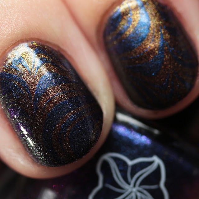 Moonflower Polish Mystique stamped over Hidden Rose using Hehe 37