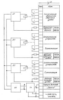Электрическая функциональная схема регулятора-сигнализатора уровня ЭРСУ-3