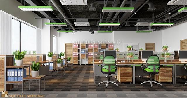 Thiết kế nội thất văn phòng hiện đại không gian xanh