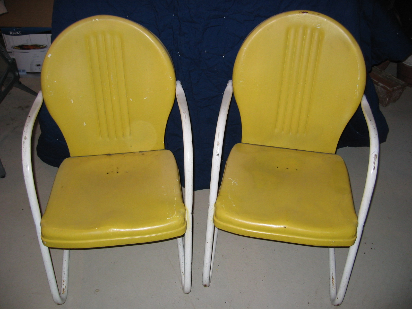 Vintage green metal bouncy chair and yellow ones ...