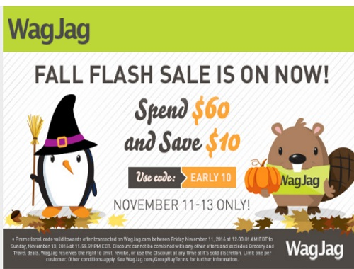 Wagjag Flash Sale Spend $60 Get $10 Off Promo Code