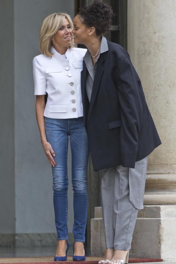 Rihanna meets French president Emmanuel Macron and first lady Brigitte