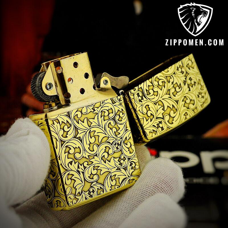 Zippo Khắc Hoa Văn Lá Cao Cấp Xuất Nhật | Zippo Xuất Nhật | Zippo Men