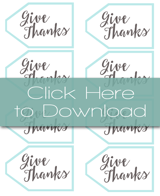 Thanksgiving Place Setting with Free Printable 'Give Thanks' Tags