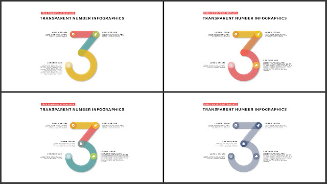 Infographic Transparent Design Elements for PowerPoint Templates in white background using Number 3