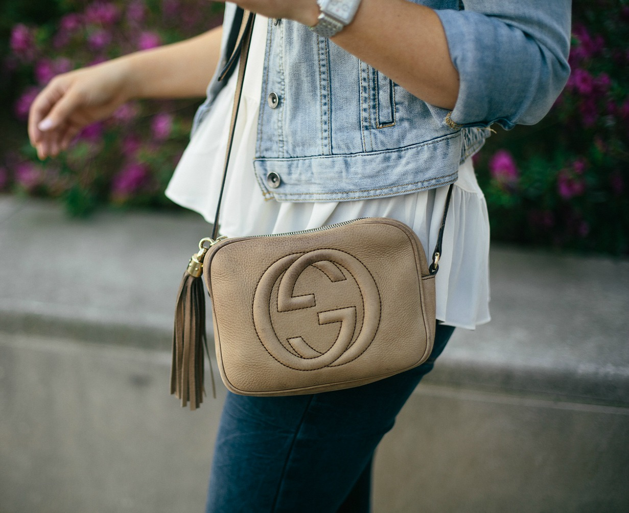 denim on denim outfit, peplum top, gucci crossbody