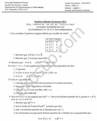 contrôles corrigés algèbre 1 smia s1 FSO