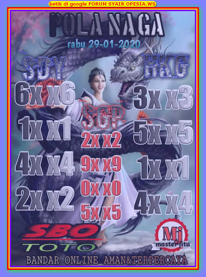 Kode syair Hongkong Rabu 29 Januari 2020 92