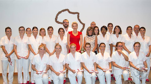 Princess Charlene presented the diplomas of nurses who have succesfully completed their end of year education (CHPG) at the Monique Le Du