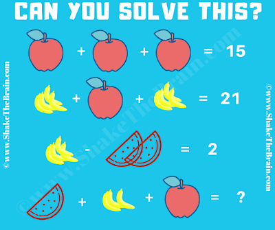 In this Fruits Math Picture Puzzle, your challenge is to find the values of the each fruit and then solve the last equation