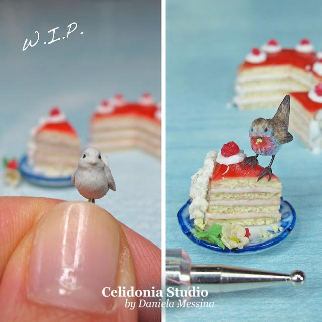 Miniatura Pettirosso su Torta by Celidonia - Daniela Messina