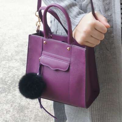 AwayFromTheBlue | Rebecca Minkoff mini MAB tote in plum faux fur pom pom charm