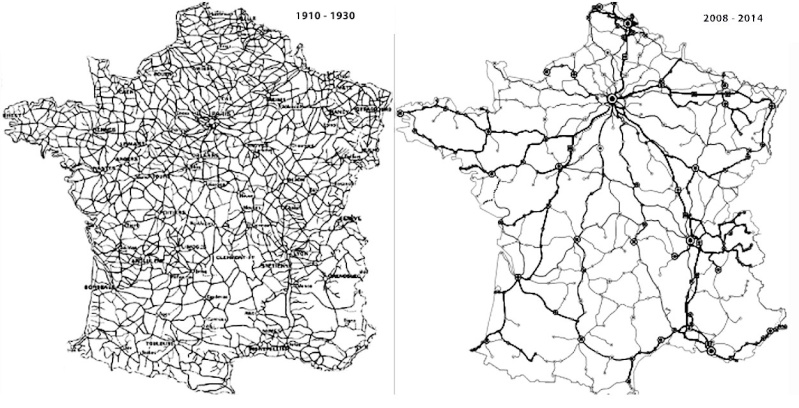 Train network in France between 1910 and 2014