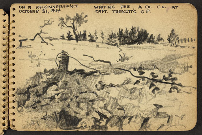 21-Year-Old WWII Soldier's Sketchbooks Show War Through The Eyes Of An Architect - On A Reconnaissance In France. Waiting For A Co. C.O. At Capt. Trescott's O.P.