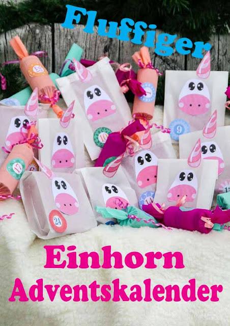 Einhorn Adventskalender mit Krepppapierrollen und Butterbrottüten