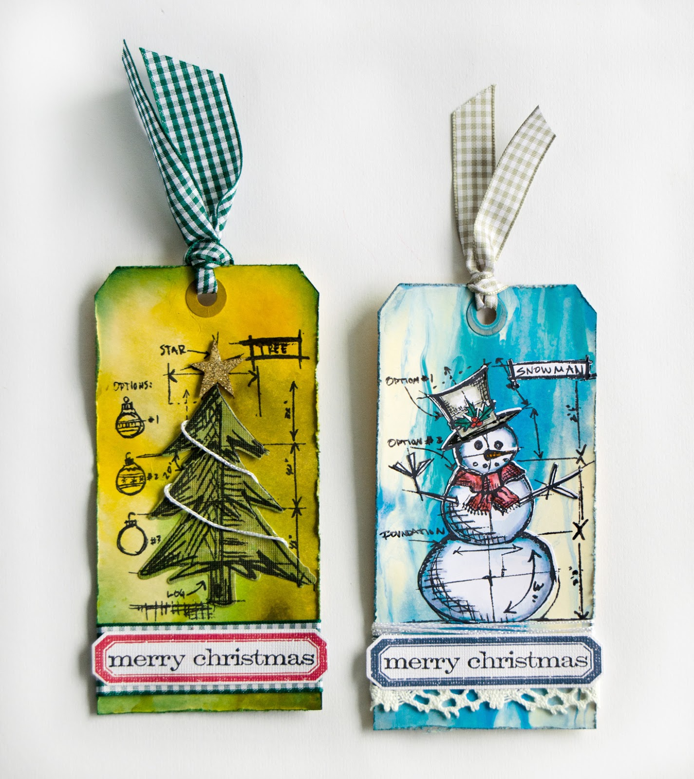 Stamped and die-cut images on Christmas themed tags