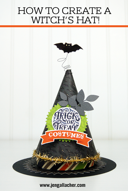 Halloween Witch's Hat paper craft with www.jengallacher.com. #halloween #halloweencraft #diecutting