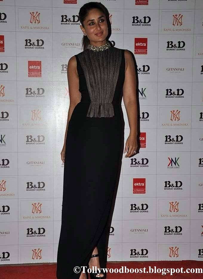 Indian Actress Kareena Kapoor Photos In Full Black Gown