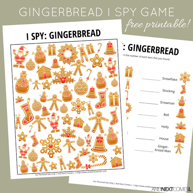 Free gingerbread themed I Spy game for kids that's perfect for Christmas from And Next Comes L