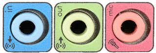Porturile pentru difuzuare, microfon și intrare pentru alte dispozitive de sunet.