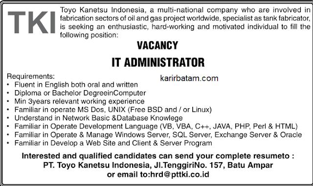 Lowongan Kerja PT. Tokyo Kanetsu Indonesia