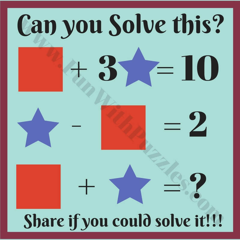 Kids Math Equations Riddles with Answers - Fun With Puzzles