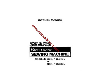 Sewing Machine Instruction Manuals: Kenmore 385.1158180