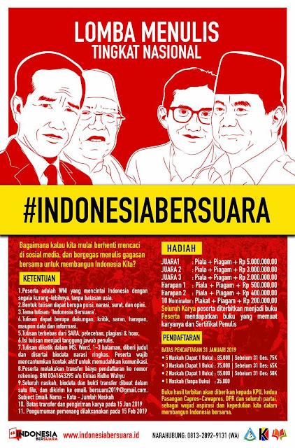 Lomba Menulis Tingkat Nasional Indonesia Bersuara 2019 Umum