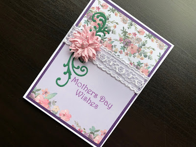 Hand made Mothers Day card with patterned paper background, lace, paper flower and stamped greeting