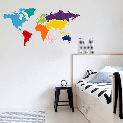 vinilo mapa mundi infantil pixel colores