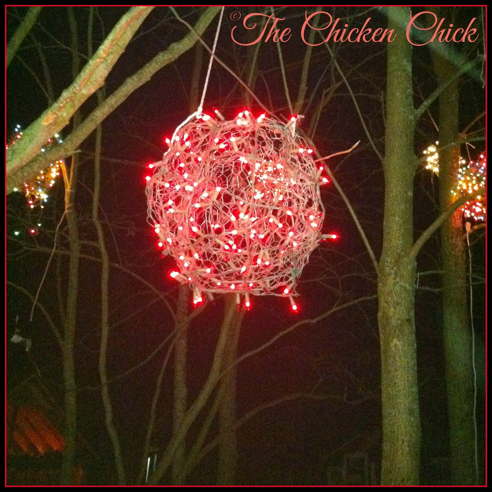 The chicken chick wire lighted christmas balls