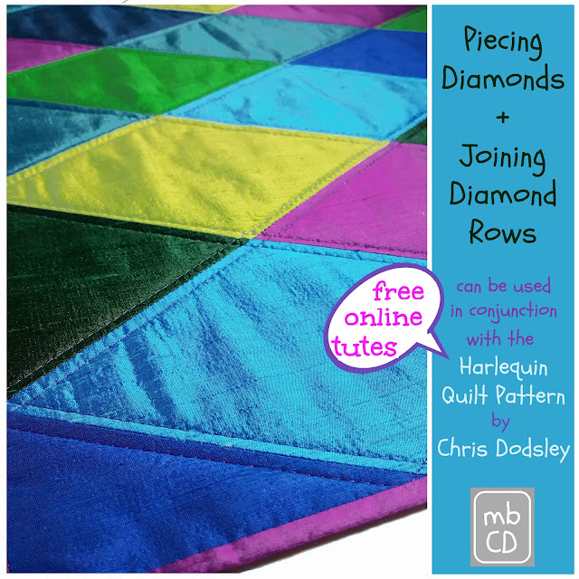 Piecing and Joining Diamond Rows Tute by www.madebyChrissieD.com