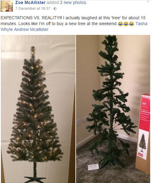 Christmas tree woman saw online vs what she actually got