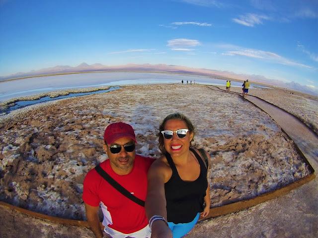 Di e Ricardo fascinados com a beleza da Laguna Tebinquiche