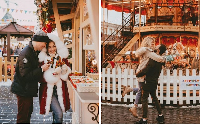 Couple on the christmas fair. Romantic photoshoot in Russia by Nika Sergah.