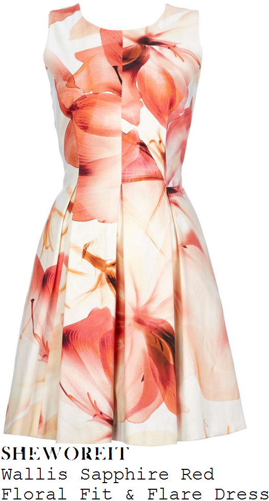 jessica-fox-wallis-sapphire-cream-peach-and-red-oversized-floral-print-fit-and-flare-dress