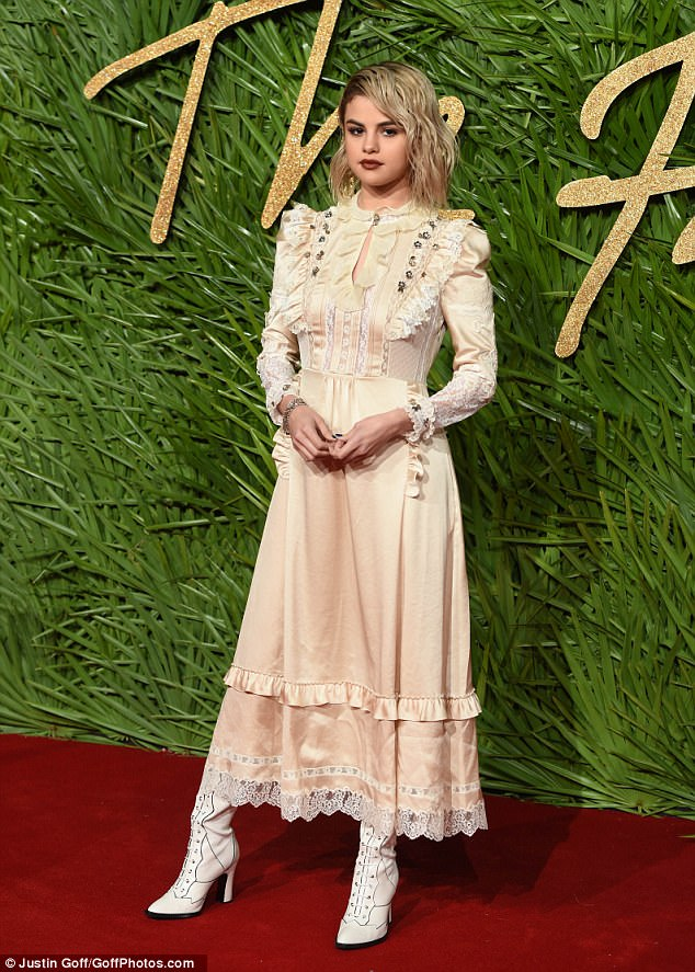 Selena Gomez impresses in Victorian gown at the 2017 Fashion Awards