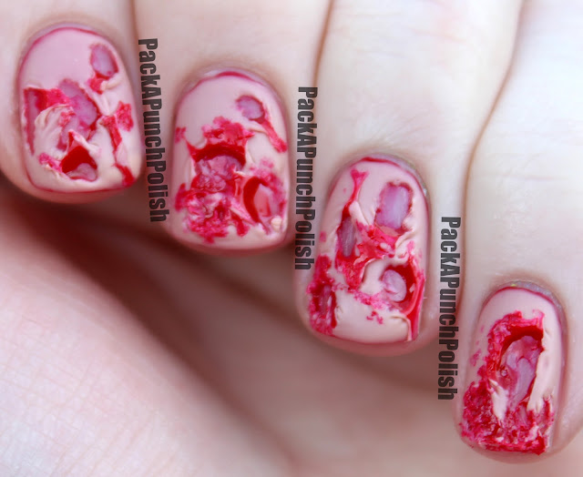 PackAPunchPolish: Bloody Ripped Flesh Halloween Nail Art