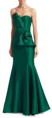 Badgley Mischka Strapless Bow Front Gown