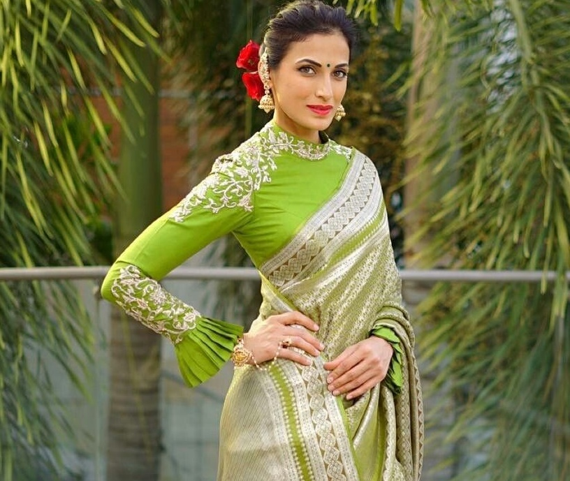 e3a0f7ed6f1fc You can go all out and pair your pattu saree with a full sleeved high neck blouse  design featuring frill ...