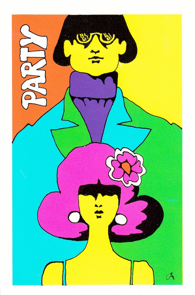 1960s psychedelic pop art illustration