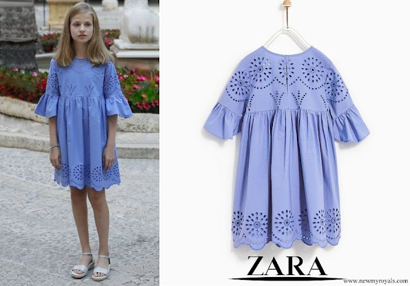 Princess Leonor wore ZARA embroidered dress
