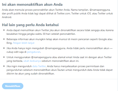 Ketentuan proses penonaktifan akun twitter