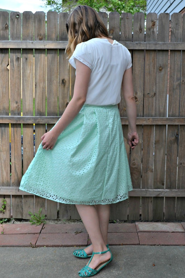Me Made: Mint Laser-Cut Pleated Skirt