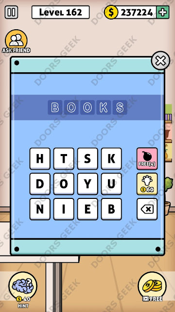 The answer for Escape Room: Mystery Word Level 162 is: BOOKS