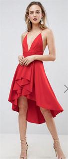 vestido rojo skater de tirantes para navidad 2018