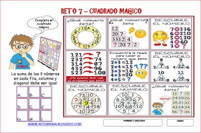 Cuadrado mágico, Cuadrados mágicos, Retos para pensar, Piensa rápido, Descubre el número, Cuál es el número que falta, Desafíos matemáticos, Problemas matemáticos