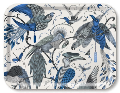 white tray with elaborately drawn birds in gray and blue
