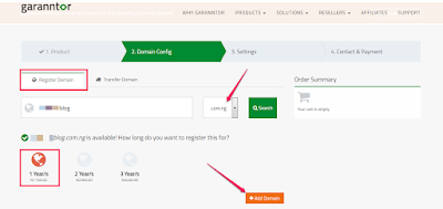 buy domain name in nigeria at garanntor web hosting company